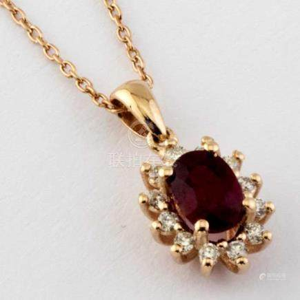 14K Pink Gold Cluster Pendant set with a natural ruby and 12 brilliant cut diamond 0,65ct in total