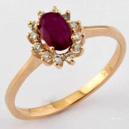 14K Pink Gold Cluster Ring Total 0,65ct,12 Pcs Brilliant Cut Round Diamond and 1 Natural Ruby