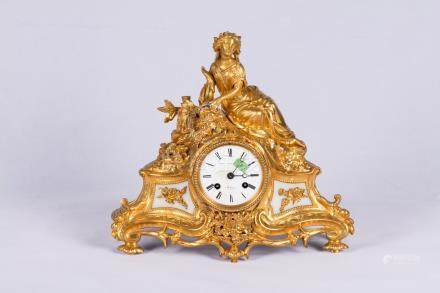 Gilt Table Clock Surmounted By a Beauty