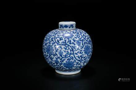 Yongzheng Blue And White 'Lotus' Jar