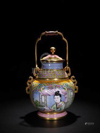 Qing Painted Enamel 'Beauty' Wine Vessel, Zun