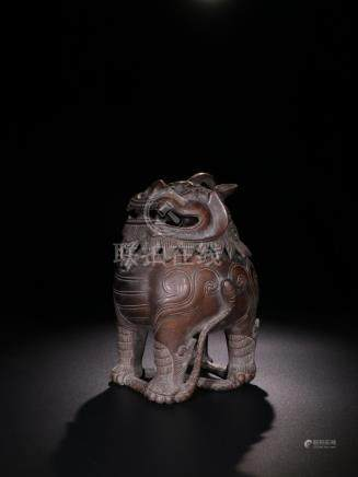 Qing Copper 'Auspicious Animal' Censer