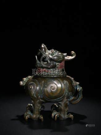 Qing Fine Brass Carved 'Beast' Censer