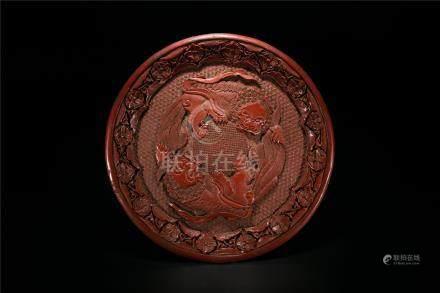 Qianlong Cinnabar Lacquer 'Lion' Dish