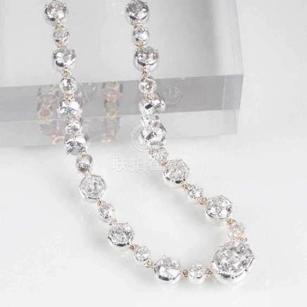 Herausragendes, hochkarätiges Altschliffdiamant-Collier14 kt. Roségold mit Silber. Umlaufend 65