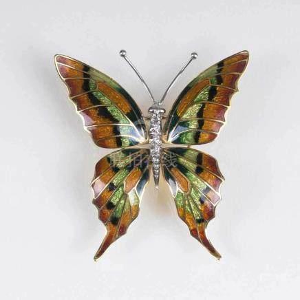 Außergewöhnliche Emaille-Brillant-Brosche 'Schmetterling'18 kt. GG mit WG, gest. Transluzider