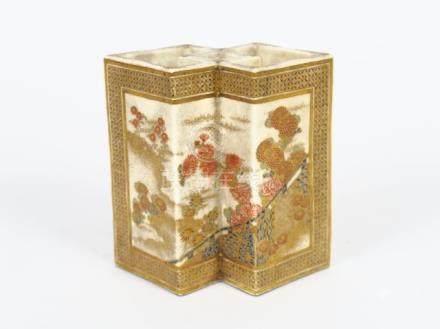 Vase double en céramique Satsumé Yaki Bijustsu. Kinryuen,  à décor de passement