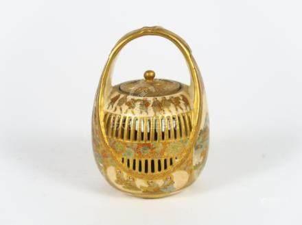 Diffuseur à parfum en Satsuma reprenant la forme d'un panier en vannerie décoré