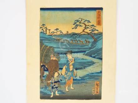 Lot comprenant une estampe d'Hiroshige et reproductions d'estampes célèbres