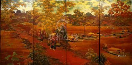 'Paysage animé'. Quadriptyque en laque, signé et situé Hanoï 1951 Dim. 100 x 20