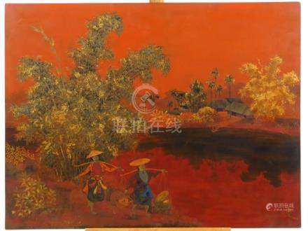 TRAN PHUC DUYEN (1923-1993). Ecole des Beaux Arts d'Indochine. 'Paysage ainmé'.