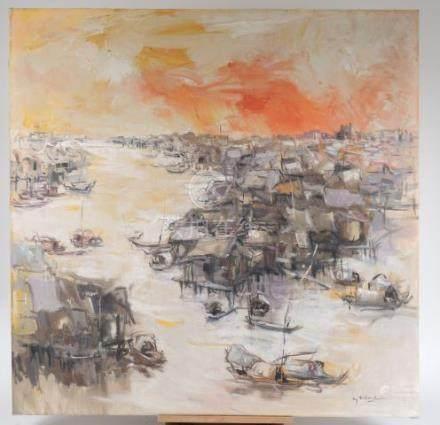 N GUYEN TRI MINH 'Paysage aux barques et aux maisons sur pilotis'. Huile sur to