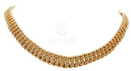 Collier en or jaune maille américaine en chute  Longueur : 39,5 cm Poids brut :