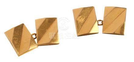 Paire de boutons de manchettes en or jaune Poids brut : 5,99 g (18K - 750/1000)