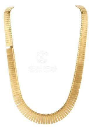 Collier articulé en or jaune amati à maille droite en chute (M) Longueur : 42,5