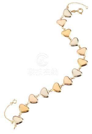 """Bracelet """"cœur"""" 3 ors Longueur : 10 cm Poids brut : 11,35 g (18K - 750/1000)"""