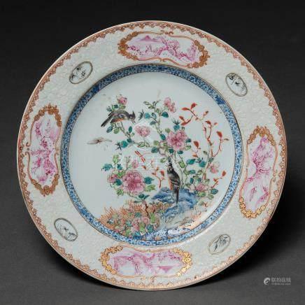 Plato en porcelana de Compañía de Indias del siglo XVIII