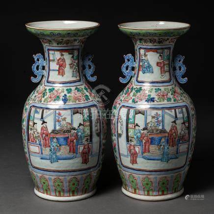 Pareja de jarrones en porcelana china familia rosa. Trabajo Chino, Siglo XIX