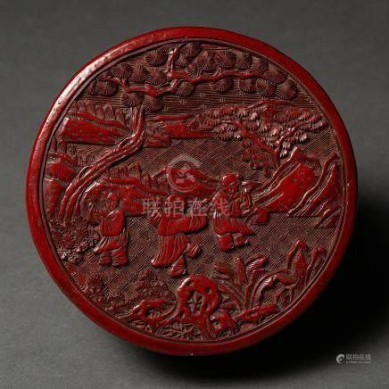 Caja circular en laca color cinabrio. Trabajo Chino, Siglo XIX