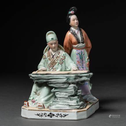 """""""Pianista con Dama"""" Grupo escultórico en porcelana china pintada a mano. Trabajo Chino, Siglo XX"""