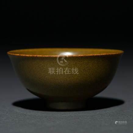 Cuenco en porcelana china monocromo color verde. Trabajo Chino, Siglo XIX-XX