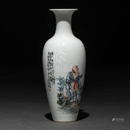 """""""Sabio de la antigüedad"""" Jarrón en porcelana china. Trabajo Chino, Siglo XX"""