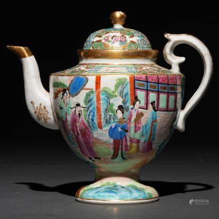 Tetera en porcelana china de cantón. Trabajo Chino, Siglo XIX