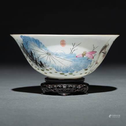 """""""Grullas"""" Cuenco en porcelana china. Trabajo Chino, Siglo XX"""