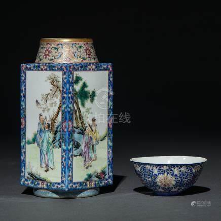 Conjunto de jarrón poligonal y cuenco en porcelana china. Trabajo Chino, Siglo XX