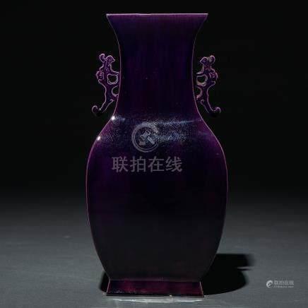 Jarrón monocromo en porcelana china. Trabajo Chino, Siglo XX