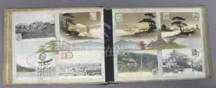 Albummit japanischen und chinesischen Postkarten, ca 70 Stck. teilweise angelaufen, Landschaft,