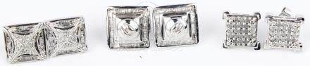 10K WHITE GOLD AND DIAMOND EARRINGS - LOT OF 3