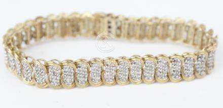 LADIES 10K YELLOW GOLD DIAMOND TENNIS BRACELET