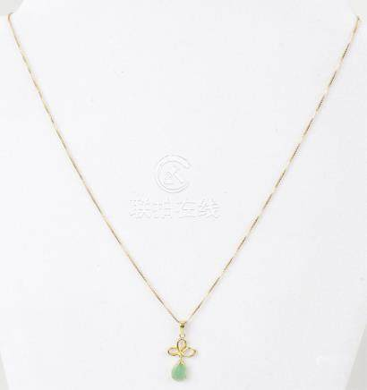 LADIES 14K YELLOW GOLD GREEN JADE NECKLACE