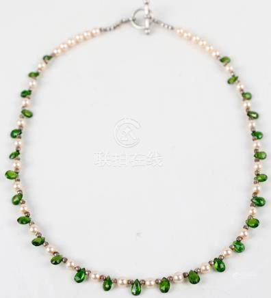 STERLING SILVER SEED PEARL AND GEMSTONE NECKLACE