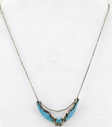 STERLING SILVER THUNDERBIRD TURQUOISE NECKLACE