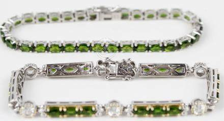 STERLING SILVER CHROMIUM DIOPSIDE TENNIS BRACELETS
