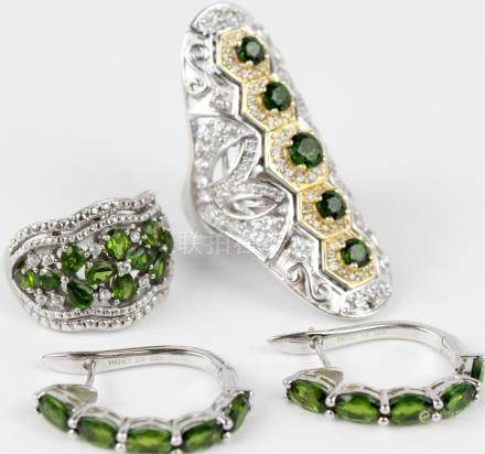 STERLING SILVER CHROMIUM DIOPSIDE LOT