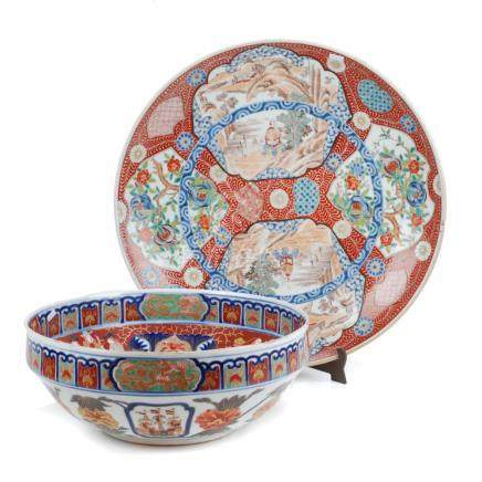 LOT COMPRISED OF JAPANESE IMARI BOWL AND PLATTER, 19TH – 20