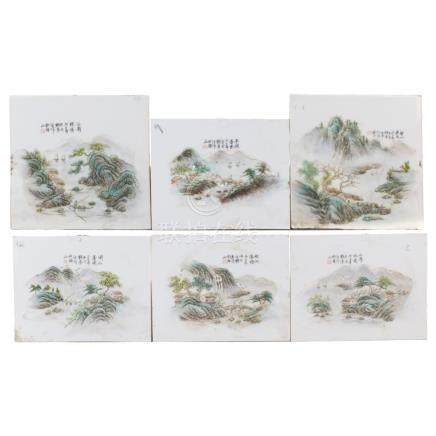 LOT OF 6 CHINESE PLAQUES, 20TH CENTURY