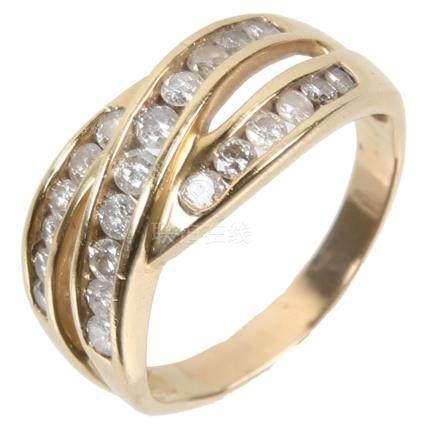 14K YELLOW GOLD CHANNEL SET DIAMOND RING