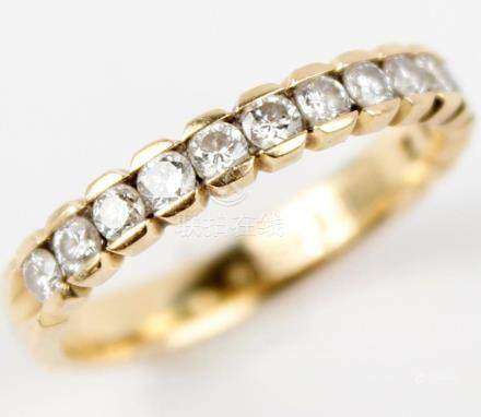 18K YELLOW GOLD LADIES DIAMOND WEDDING BAND