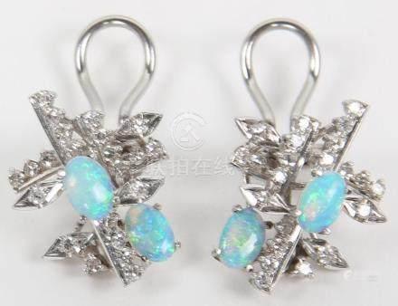 LADIES 18K WHITE GOLD DIAMOND & OPAL EARRINGS