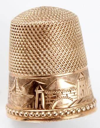 ANTIQUE 14K YELLOW GOLD THIMBLE