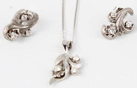 14K WHITE GOLD DIAMOND NECKLACE AND EARRING SET