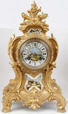 FRENCH MANTEL CLOCK GOLDEN PEWTER