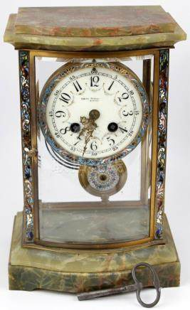 FRENCH MANTEL CLOCK GREEN MARBLE ENAMELED