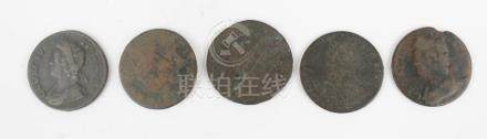 EARLY COPPER CENTS LOT OF 5