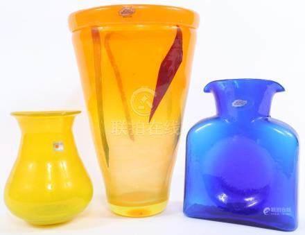 BLENKO ART GLASS VASES - LOT OF 3