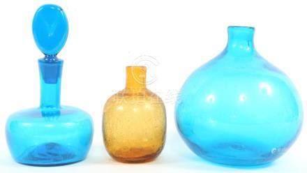 BLENKO BLUE & AMBER ART GLASS LOT OF 3